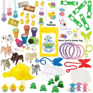 110+ Piece Easter Egg Filler (Small Toy Assortment of Bunnies, Frogs, Chicks, & More.)