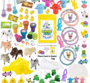110+ Piece Easter Egg Stuffer/Filler (Small Toy Assortment of Bunnies, Frogs, Chicks, & More.)