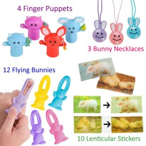 Easter Egg Stuffers - Lenticular-stickers-bunny-necklaces-finger-puppets-12-flying-bunnies
