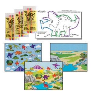 12 Dinosaur Wikki Stix and 12 Dinosaur Make a Sticker Scenes