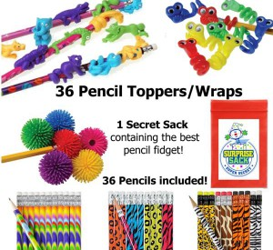 Pencils with Pencil Fidget Toppers/Wraps for students