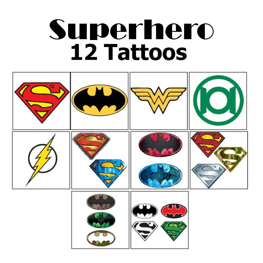 12 superhero dc comic icon temporary tattoos my cms for Superhero temporary tattoos