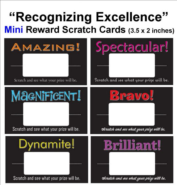3.5 x 2 inch Mini Reward Scratch Cards.