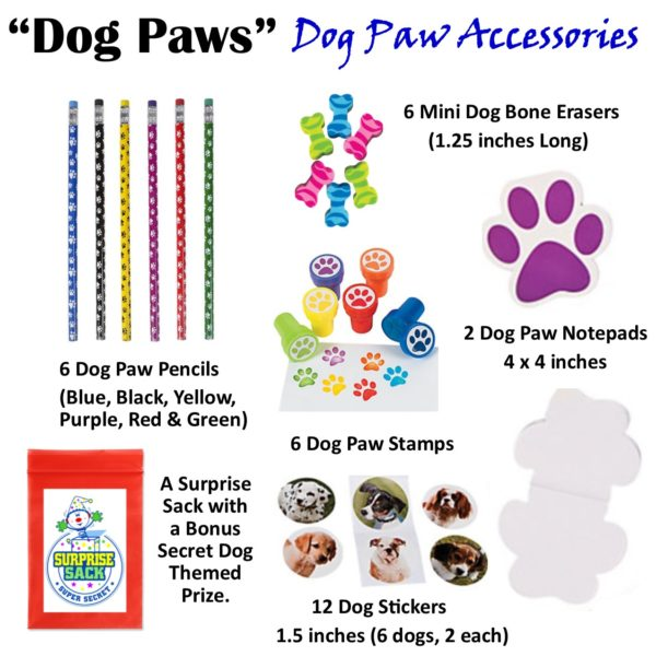 Dog Themed Stationary Accessories. Pencils, Stampers, Notebook, stickers, and erasers.