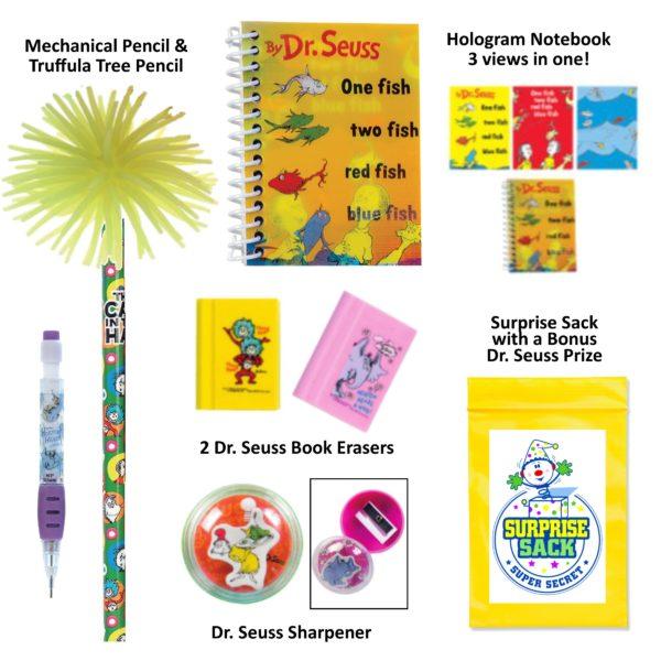 Dr. Seuss Green Pencil Case, Dr. Seuss Pencils, Dr. Seuss Erasers, Dr. Seuss Notebook, Dr. Seuss Gift Set, Dr. Seuss Stocking Stuffers, Dr. Seuss Easter Basket Stuffers