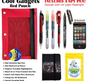 Red Pouch with Invisible Ink Spy Pen