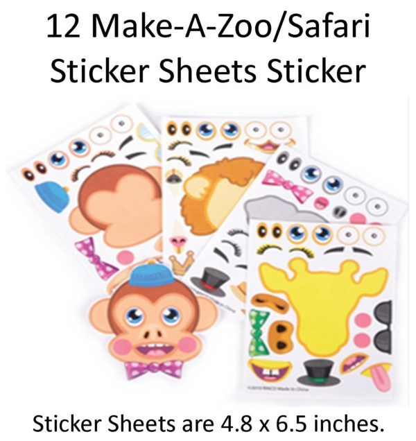 12 Wikki Stix and 12 Make a Zoo Sticker Sheets great for party favors, goody bag stuffers, or preschool crafts.